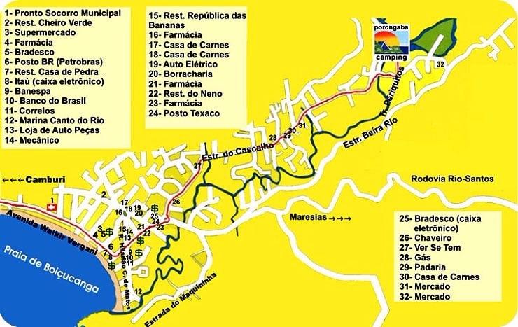 mapa serviços porongaba